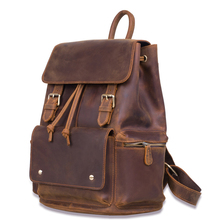 Cowhide Backpack 100% Genuine Leather Backpack Handamade Vintage Designer Flap Daypack Male Classic Man Women Travel Shoulder new genuine leather backpack chinese style women embroidery phoenix shoulder bag famous designer rivet classic national daypack
