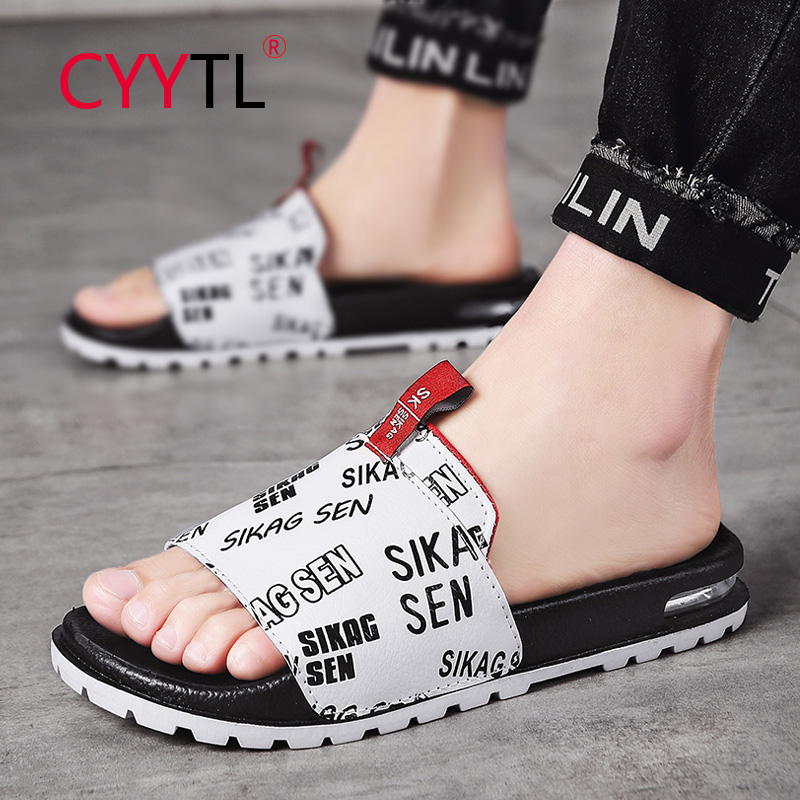 CYYTL Men Slippers Summer Beach Non-slip Male Slides Sports Women Sandals Soft Female Home Stars Flip Flops Outdoor Indoor Man