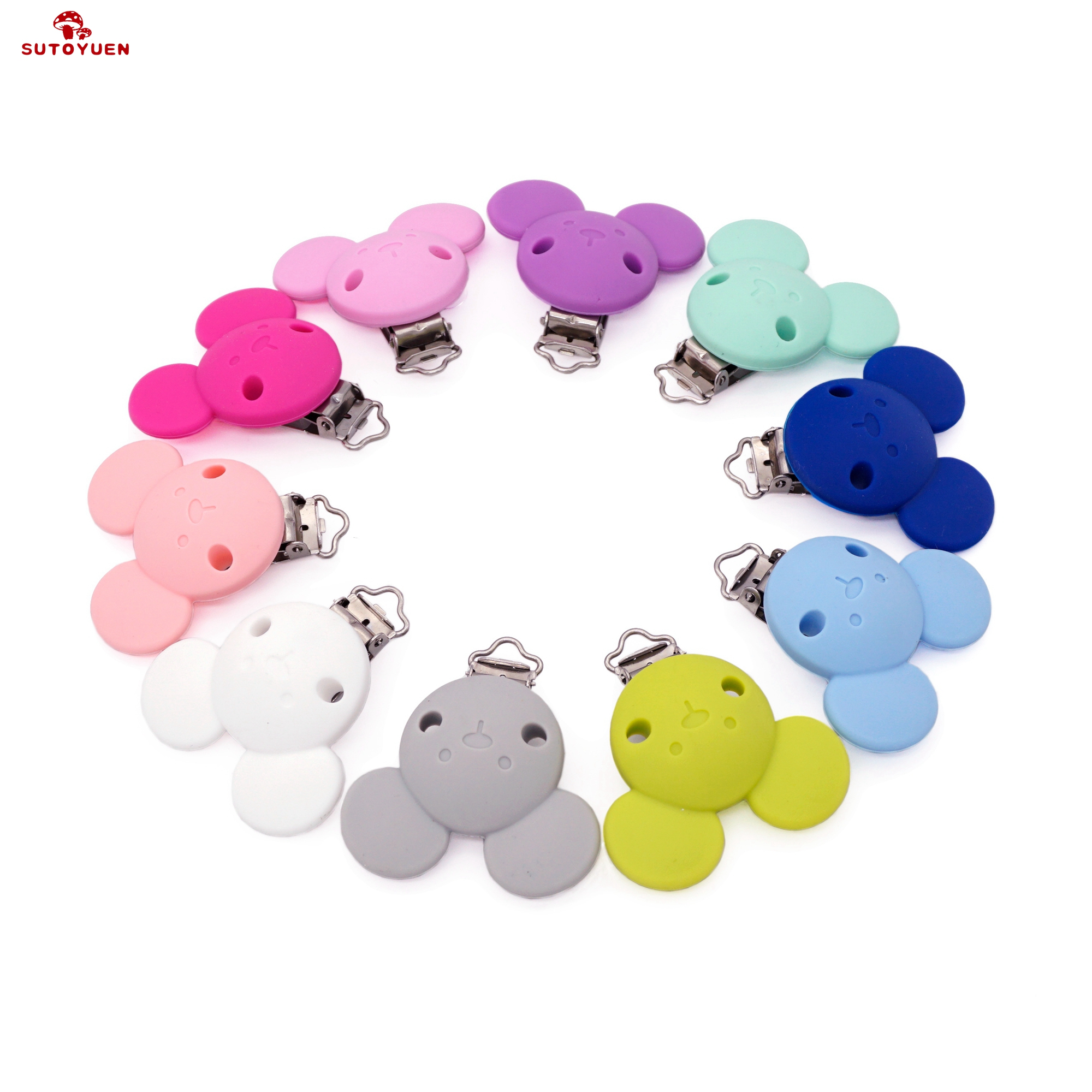 Sutoyuen 10PCS BPA Free Baby Mickey Silicone Pacifier Clips Dummy Teether Chain Holder Clips DIY Mouse Animal Toy Accessories