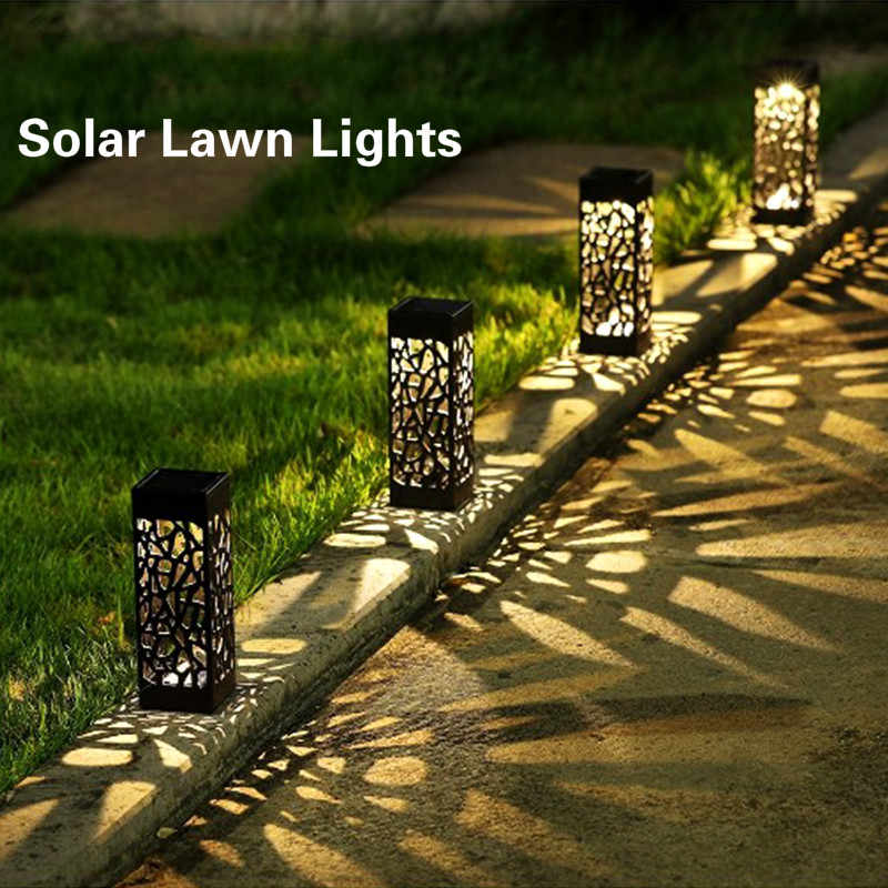 Solar Gazon Licht Decoratie Tuin Hollow Gazon Lamp Outdoor Soalr Tuinverlichting Pathway Light Waterdicht Tuin Solar Led Licht