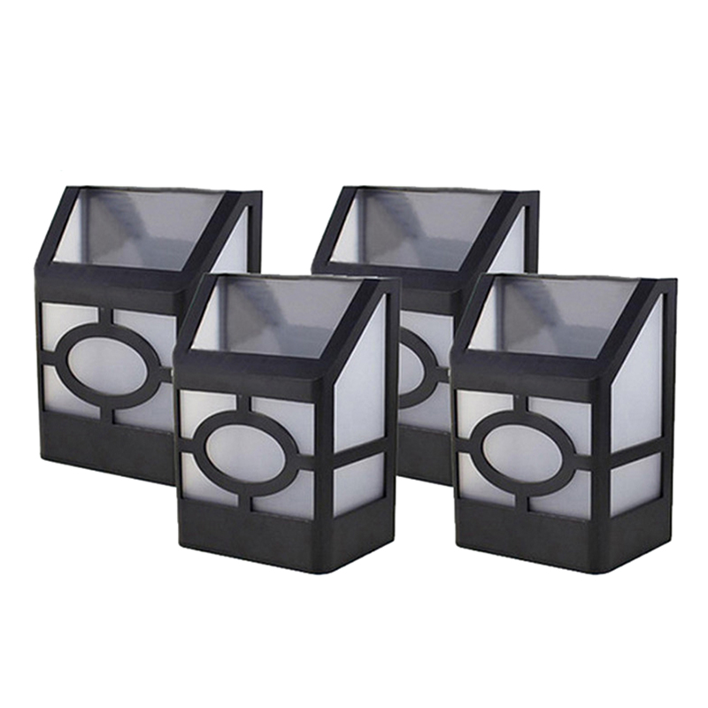 ELEG-4 Pcs 2Led Solar Light Power Wall Light Garden Solar Light