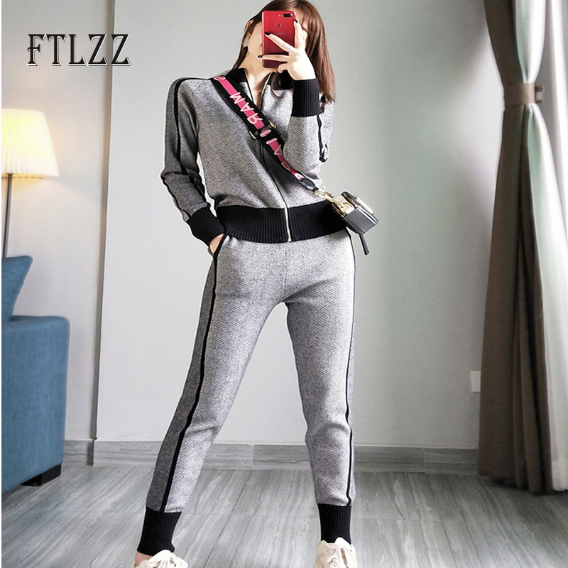 Woman Tracksuits New Autumn Winter Zipper Knitted Jacket Coat + Slim Pants Suits Women Two Piece Set Sportsuits Sweater Clothes