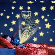 Estrella, un vientre de juguete de felpa Animal relleno de luz de la noche para proyector sueño reconfortante Lite juguetes cachorro regalos de Navidad para los niños