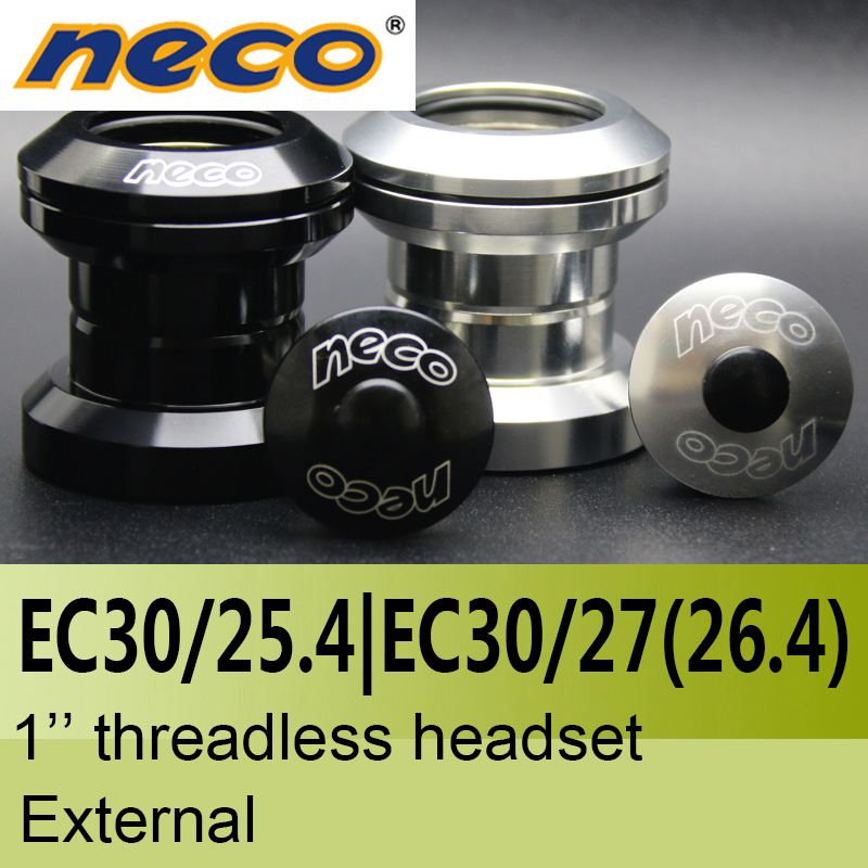Neco Headsets Threadless 1 Inch EC30 / 25.4  EC30 / 27mm 27 26.4 26.4mm Height 29mm  External Bearing Steel Headsets 30 Mm