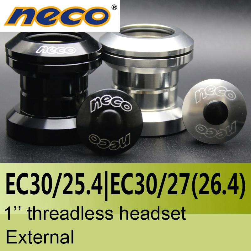 Neco Headsets Threadless 1 Inch EC30 / 25.4  EC30 / 27mm 27 26.4 26.4mm Height 29mm  External Bearing Steel Headsets 30 Mm