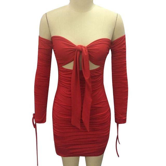 Mulheres rendas até fora do ombro vestido de manga longa sólido vermelho sexy festa mini vestidos busto tie bodycon vestido ruched