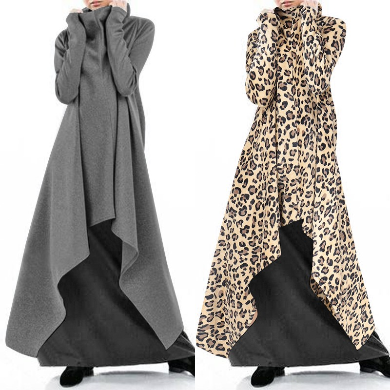 Autumn Hoodies Sundress Women's Asymmetrical Dress 2019 ZANZEA Turtleneck Long Sleeve Sweatshirts Maxi Vestidos Plus Size Robe