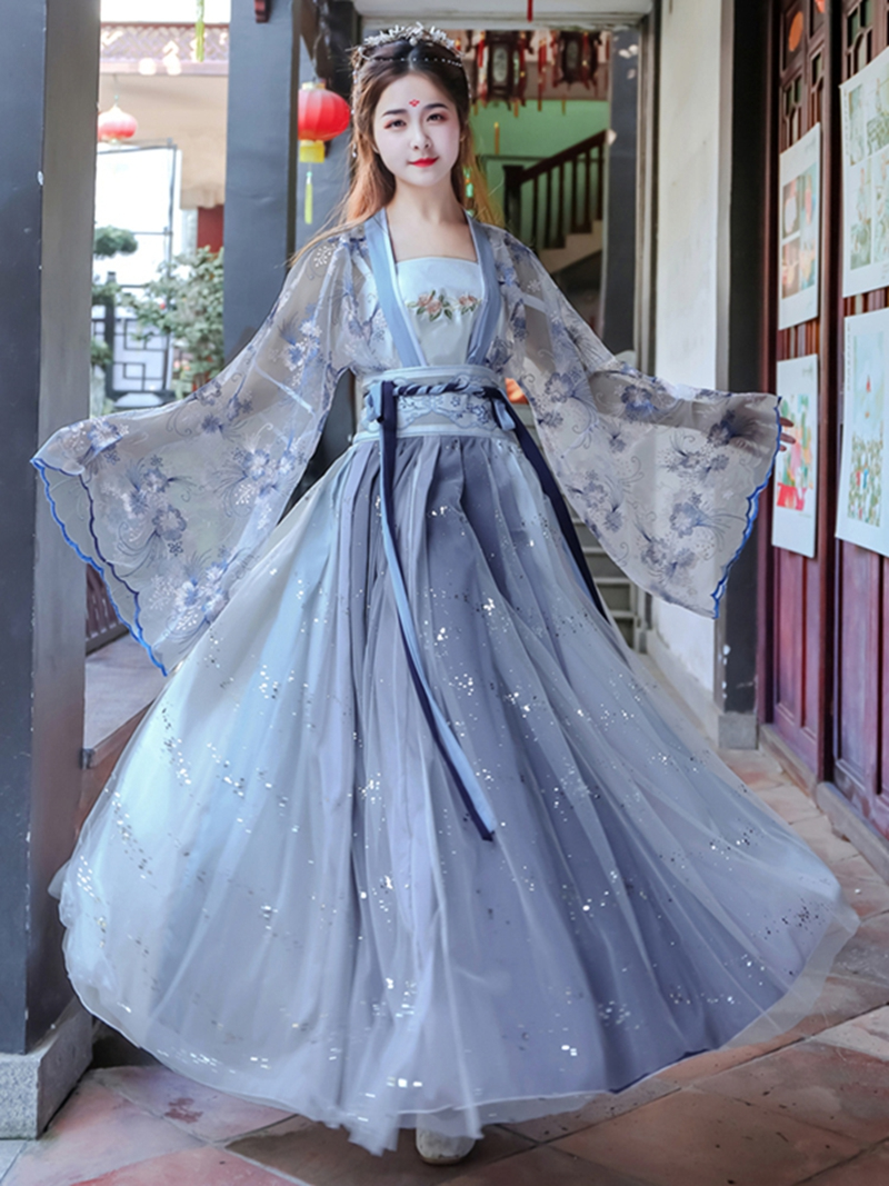 Embroidery Chinese Hanfu Women Blue Classical Dance Costume Singer Festival Outfit Fairy Dress Rave Cosplay Hanfu Dress