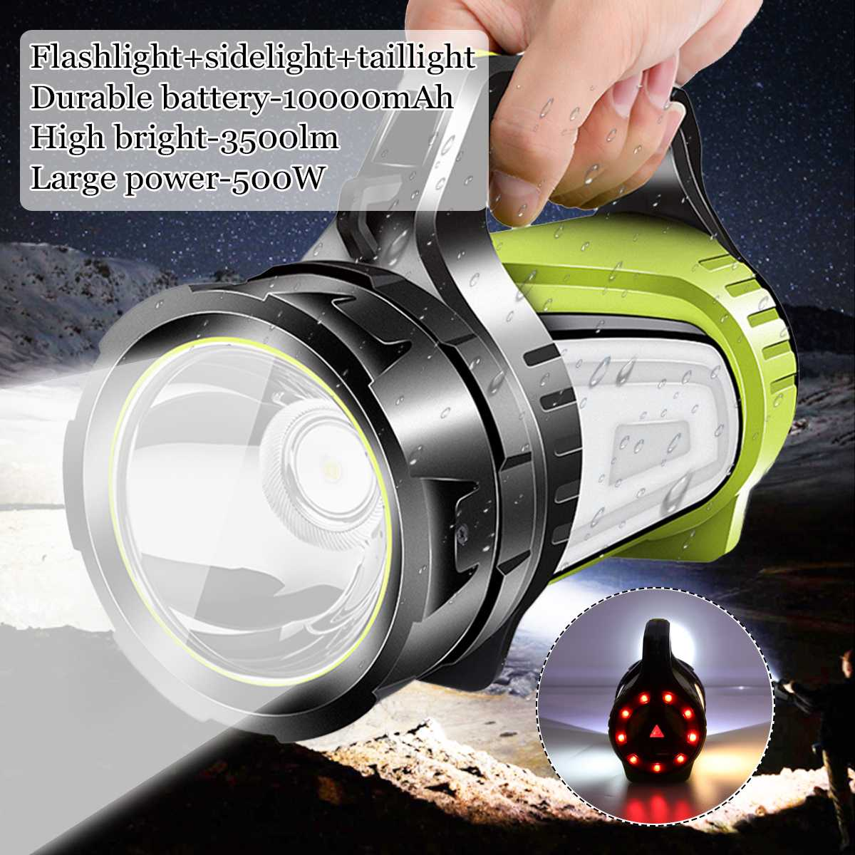 10000mAh USB Charging LED Work Light Torch Spotlight Hand Lamp Camping Lantern Searchlight For Hiking Hunting Flashlight
