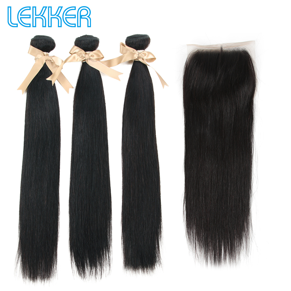 Lekker Indian Straight Human Hair Bundles With Closure 3 Bundles With 5X5 Closure Natural Color 100% Human Hair