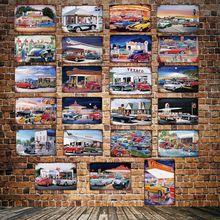 [ DecorMan ] Sinclair Texaco Gasoline station Motor oil Metal Paintings Bar Public Tin Sign Decor LT-1854