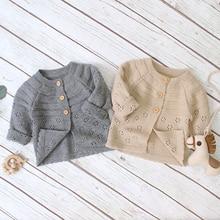 2021 Autumn Winter Kids Boys Girls Sweaters Baby Girl Solid Cotton Sweater Jacket Boys Children Knitted Kids Sweaters Girls