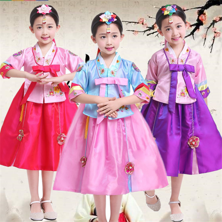 Traditional Korean Costumes For Girls Hanbok Dance Dress Stage Performance Asian Party Festival Fashion Clothing 100-160CM