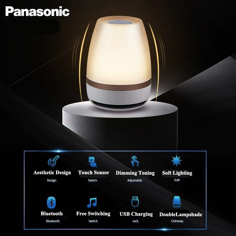 Panasonic Night Light Touch Sensor Bluetooth Speaker Light Remote Control Wireless LED Light Smart Music Table Lamp - 5