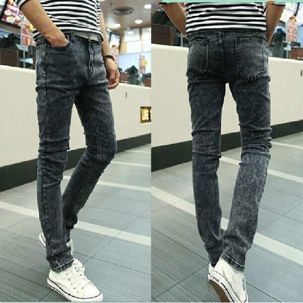 Pantalones vaqueros elásticos de la fuerza para hombre, pantalones a prueba de suciedad negros de tendencia masculina, de ocio con los pies atados