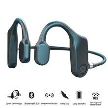 Bone Conduction หูฟังบลูทูธ5.1ไร้สาย9D เสียง HIFI กันน้ำสบายเปิดหู Hook Not In Ear กีฬาหูฟัง