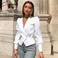 Conmoto élégant solide femmes Blouse chemises Vintage rétro Peplum blanc col en V Blouses femme bouffée décontracté Blusa Mujer