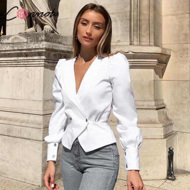 Conmoto Elegant Solid Women Blouse Shirts Vintage Retro Peplum White V Neck Female Blouses Puff Casual Blusa Mujer