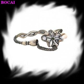 S925 sterling silver women's bracelet retro Thai silver craft women's fashion wealth lotus flower Bangle pure silver bracelet