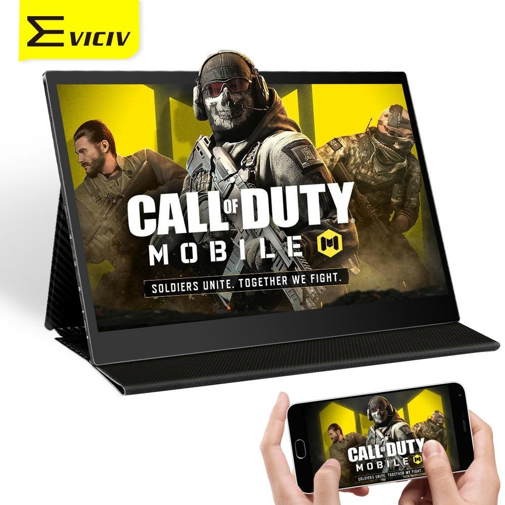 Eviciv 13,3 Zoll 10 Punkt TouchScreen Tragbare Monitor 60Hz 169 Typ C 1080P FHD Display Spielen Mobilen Anruf von Duty In Großen Bildschirm