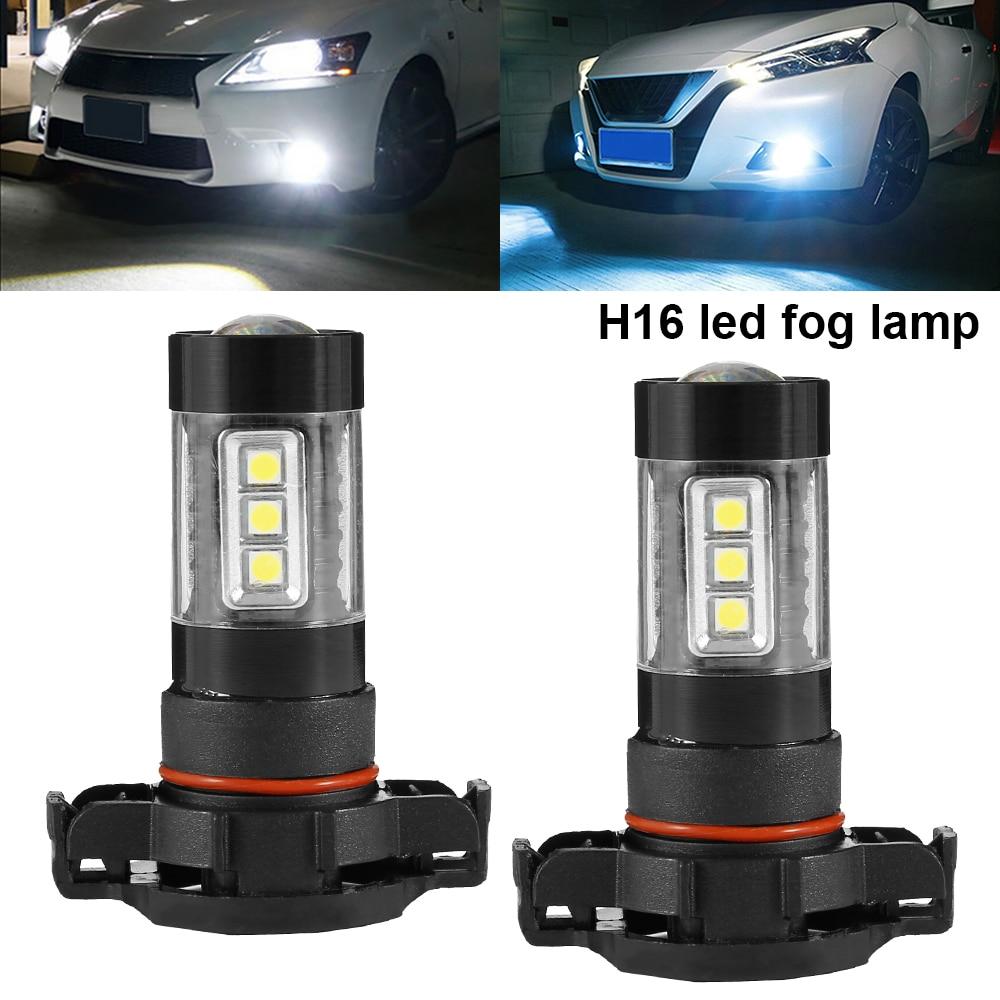 2pcs H16 Led Car Headlight Fog Light Bulb White12V 80w 6000-7500K Car Day-time Running Fog Light Lamp Bulb Car Accessories