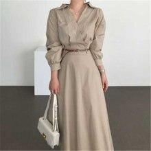Женское простое длинное платье рубашка Осеннее корейское шикарное
