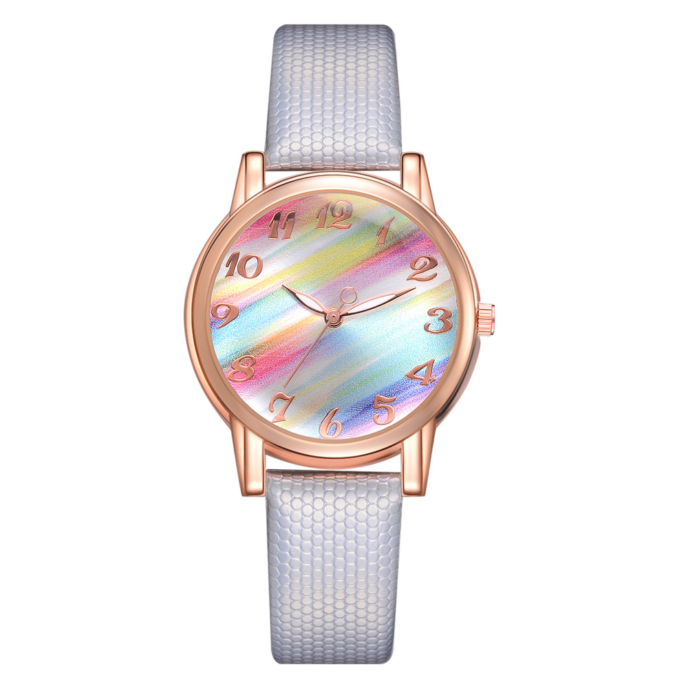 Hesiod Simple Design PU Leather Dress Watch Lady Casual Leather Watch Rainbow Dial Fashion Couple Watch