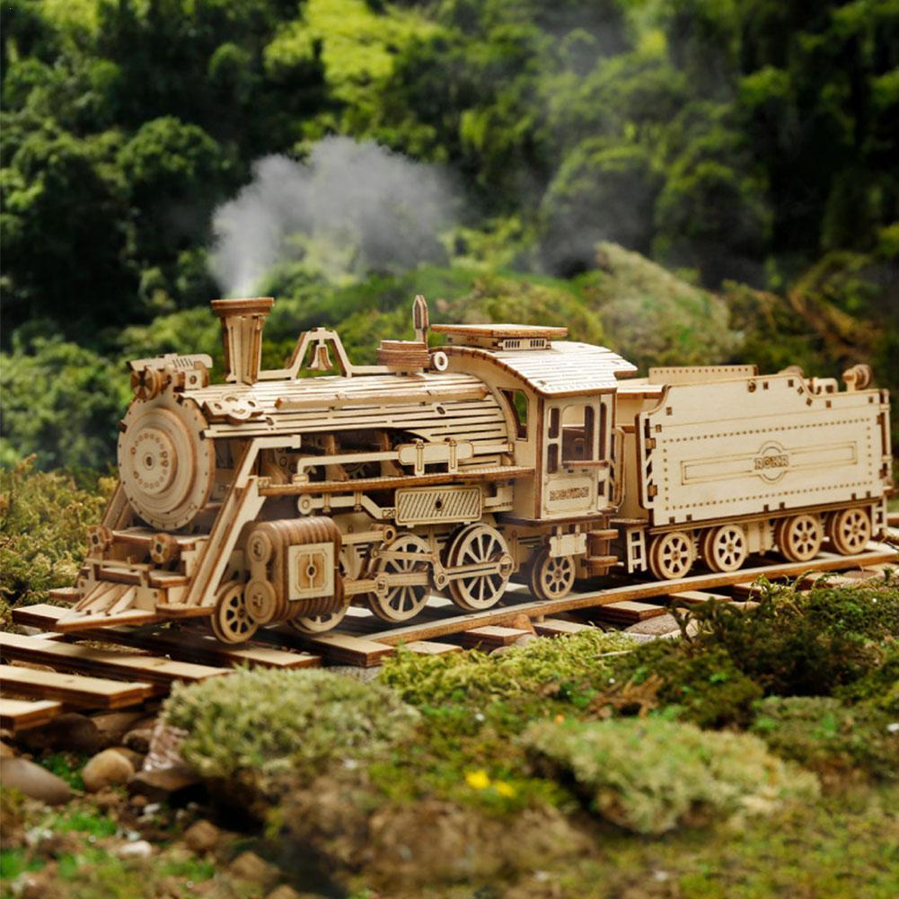 Montessori Locomotive Machinery Gear Wooden Model Kit Train Classic Toy Puzzle Mechanical Assembly Car DIY Model Handmade