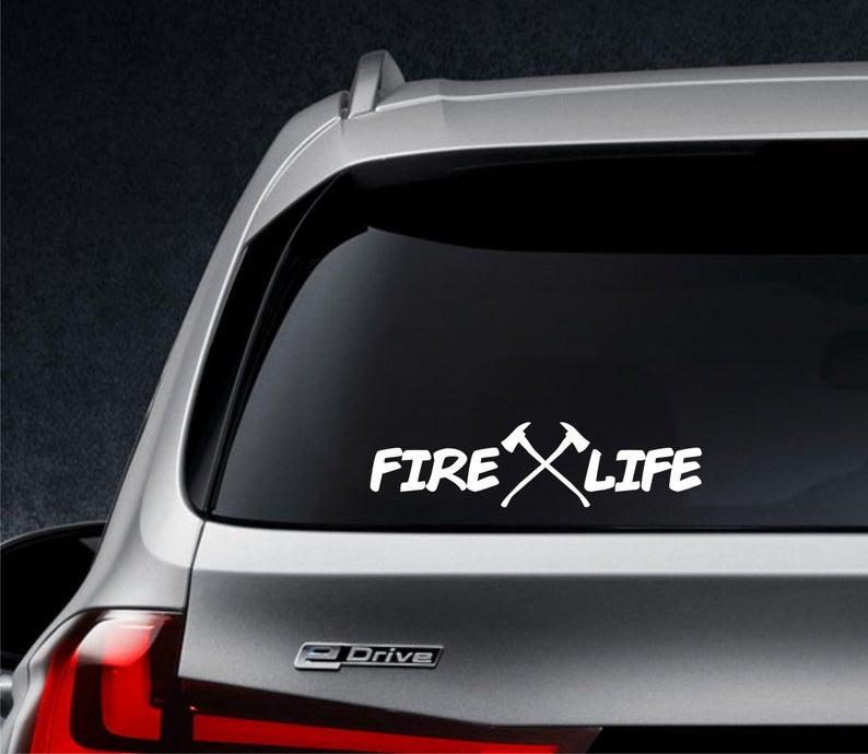 Черная/серебряная наклейка Fire Life, наклейки для кузова автомобиля, художественный бампер, автомобильное окно, заднее ветровое стекло, Декор, ...