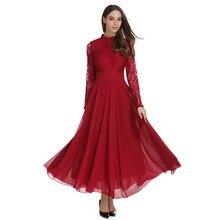 Womens vintage elegante plus size rendas chiffon retalhos maxi vestido de mangas compridas vestidos de festa a linha