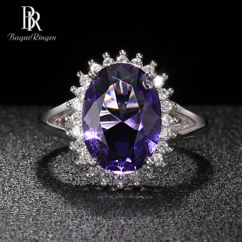Bague Ringen Oval Shaped Silver 925 Jewelry Large Gemstones Ring For Women Sunflower Sapphire NEW HOT SALE Female Gift Wholesale