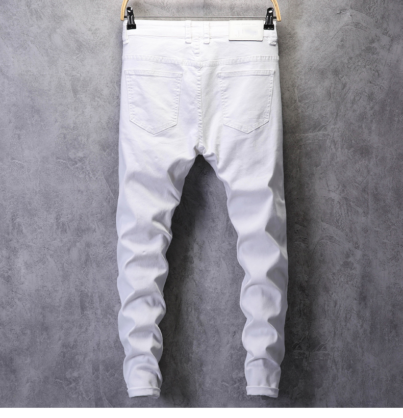 Ripped Jeans for Men Skinny White Jeans Stretch Denim Pants Jeans Mens Jeans Brand Streetwear Biker Jeans Male Hip hop Size 42 12