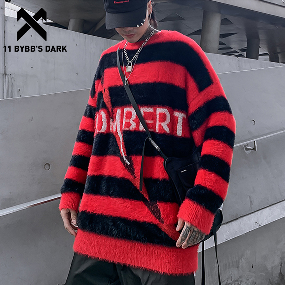 11 BYBB'S DARK Hip Hop Striped Letter Knitwear Mens Gothic Sweaters 2019 Harajuku Male Pullovers Casual Streetwear Tops Outwear