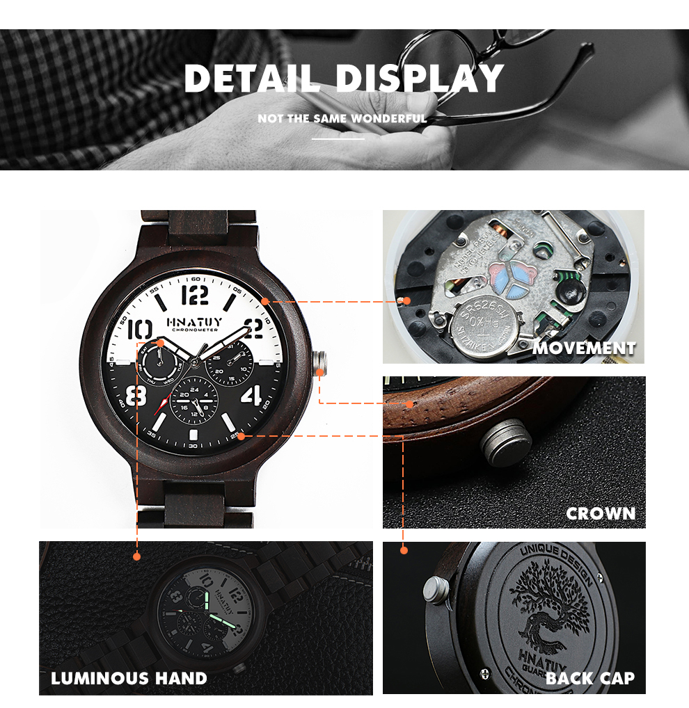 H4718df8822be4487acecac8c25f8d3004 Hnatuy Wood Men's Watches Luminous Hands Business Watch