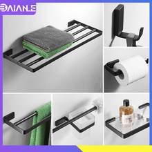 Towel Holder Black Stainless Steel Towel Rack Hanging Holder Double Towel Bar Coat Hook Toilet Paper Holder Bathroom Shelf Glass stainless steel towel bar sets brushed gold towel holder towel rack hanging holder toilet paper holder coat hook bathroom shelf