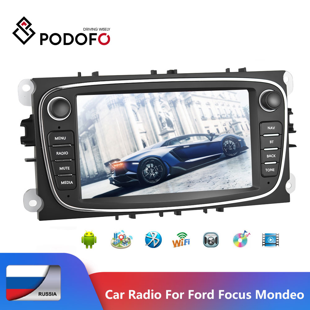 Podofo Android 7'' GPS Car Multimedia player 2 din Bluetooth MP5 Touch screen Car Radio For Ford/Focus/S Max/Mondeo 9/Kuga|Car Multimedia Player| - AliExpress