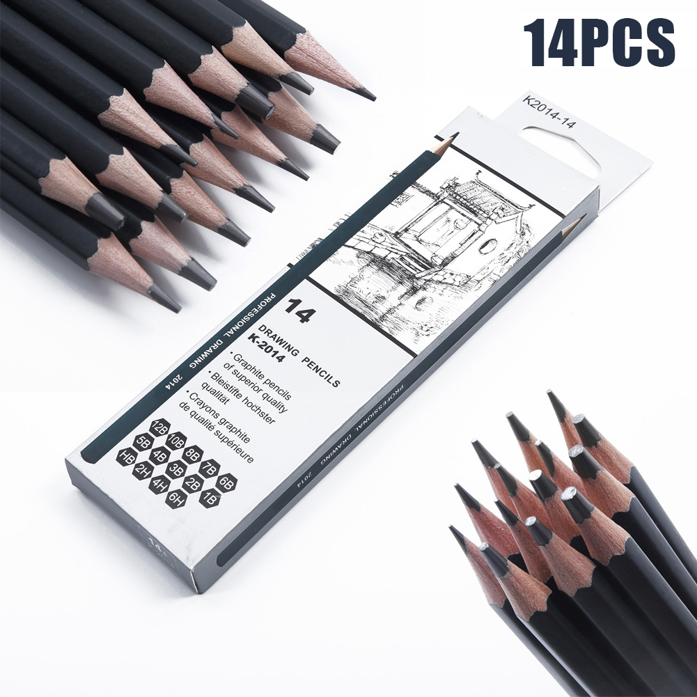 14Pcs Sketch Art Drawing Graphite Pencil 6H-12B Professional Sketching Artist Multifunction Special Pencil For Drawing Studio