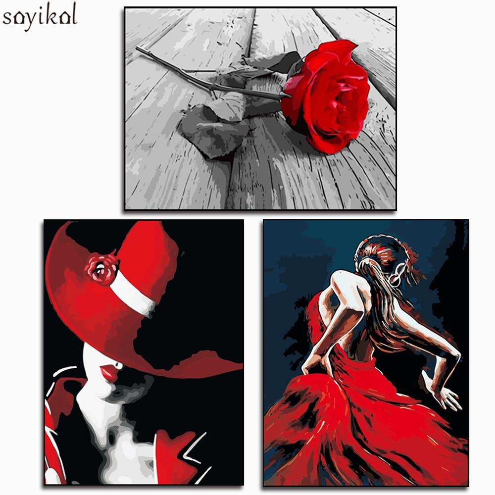 Раскраска по номерам diy сексуальная женская Роза цветы картины