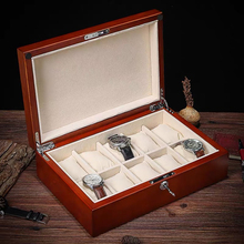 Watch Boxes Case Watches-Organizer Lock Watch-Display-Holder Solid-Wood with New Light