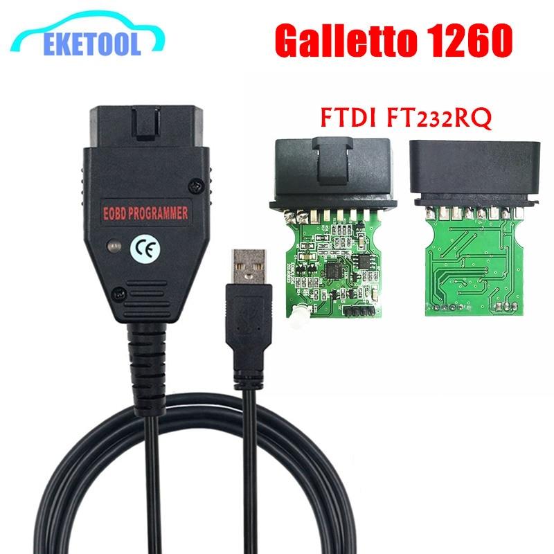 Galletto 1260 FTDI FT232RQ EOBD ECU Programmer Read Write Car ECU Flasher Works For Multi-Car OBDII Diagnostic Multi-Language
