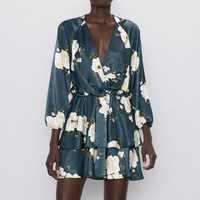 Vintage Women Floral Dress Spring 2020 New Fashion Prints Modern Lady Cascading Mini Kimono Dresses Feminino Vestidos