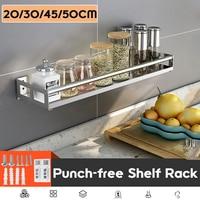 Estante de almacenamiento de acero inoxidable para cocina, organizador montado en la pared, cesta para especias, 20/30/45/50cm
