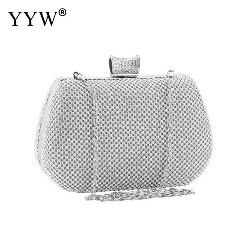 Silver Evening Party Clutch Bag 2019 Crystal Wedding Purse Luxury Rhinestone Mini Clutches White Diamonds Purse Pochette Femme