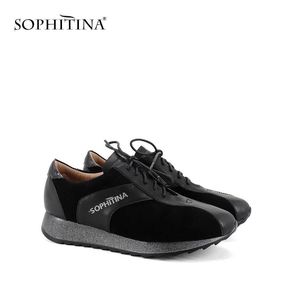 Sophitina Cột Dây Đế Phẳng Thời Trang Mũi Nhọn Bên Ngoài Phong Trào Giày Casual Nông Thoải Mái Bling Nữ Đế Bằng CPC267