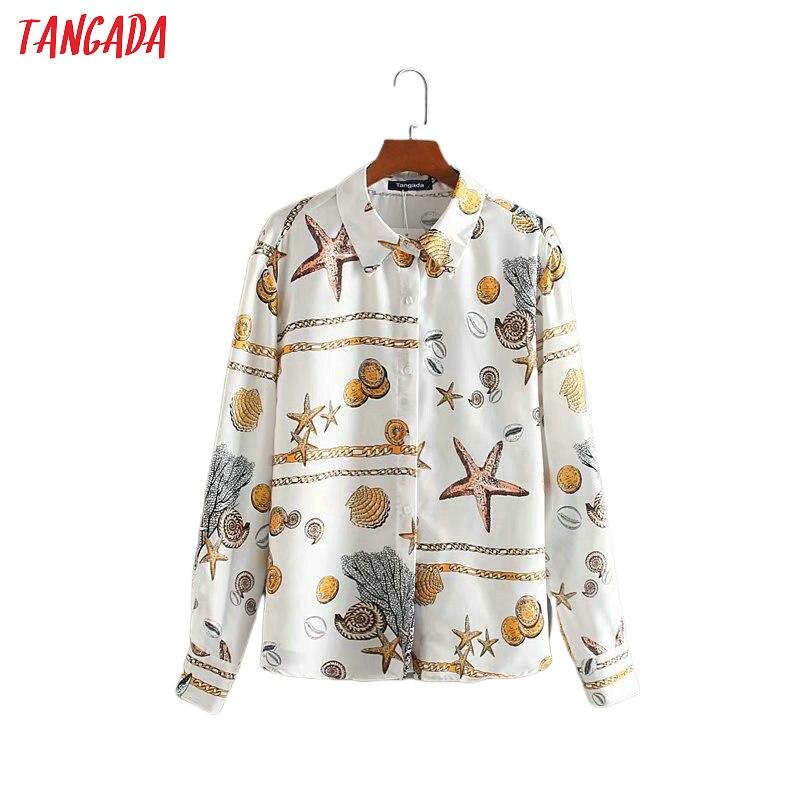 Tangada Women Retro Oversized Chian Print Chiffon Blouse Long Sleeve Chic Female Casual Loose Shirt Blusas Femininas 4Y01
