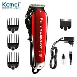 Kemei barbeiro profissional máquina de cortar cabelo elétrica sem fio aparador de barba de cabelo led cortador de cabelo lâmina de aço carbono máquina de corte de cabelo
