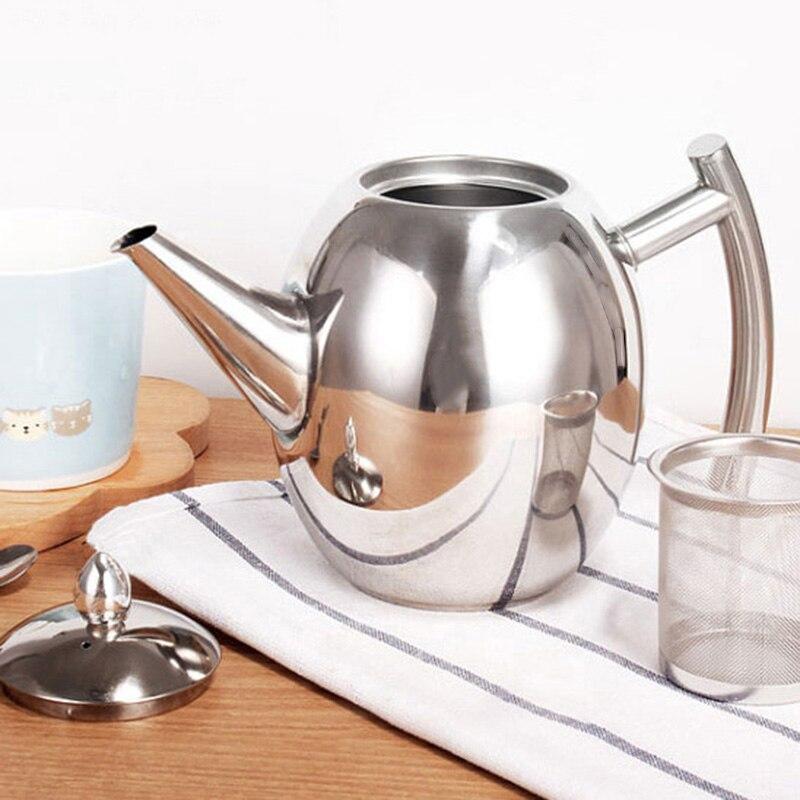 Ev ve Bahçe'ten Çaydanlıklar'de 1500Ml büyük kapasiteli paslanmaz çelik kahve çay potu makinesi demlik su ısıtıcısı kaynar çaydanlık Drinkware çok fonksiyonlu ısıtmalı Co title=