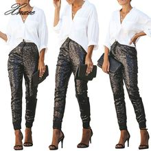 Xnxee Pu leather patchwork sequins pants women fashion pencil lace bright long club casual clothes