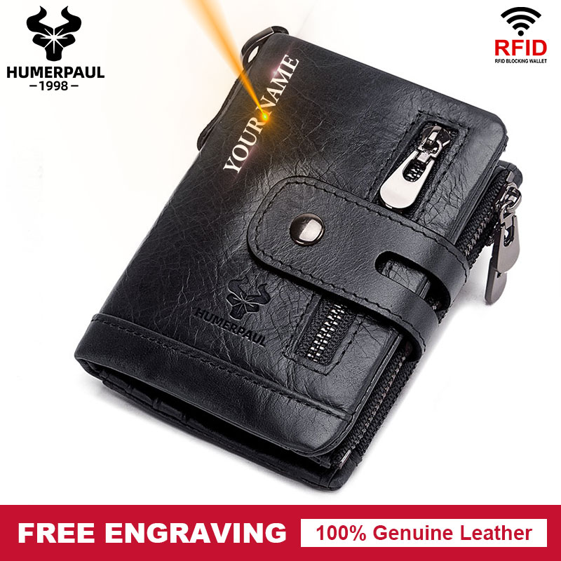 Rfid Genuine Cow Leather Wallet Men Coin Purse Small Mini Card Holder Chain PORTFOLIO Portomonee Male Walet Pocket Fashion Hasp