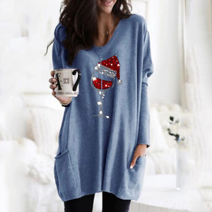 Christmas Women's T-shirt Cartoon Wine Glass Printed Pocket Long Sleeve Tee Tops Xmas Plus Size Long T Shirt Koszulka Damska